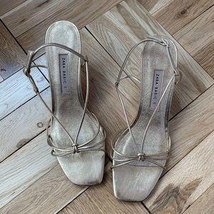 Zara gold strappy heels SUPER NEW- size 39